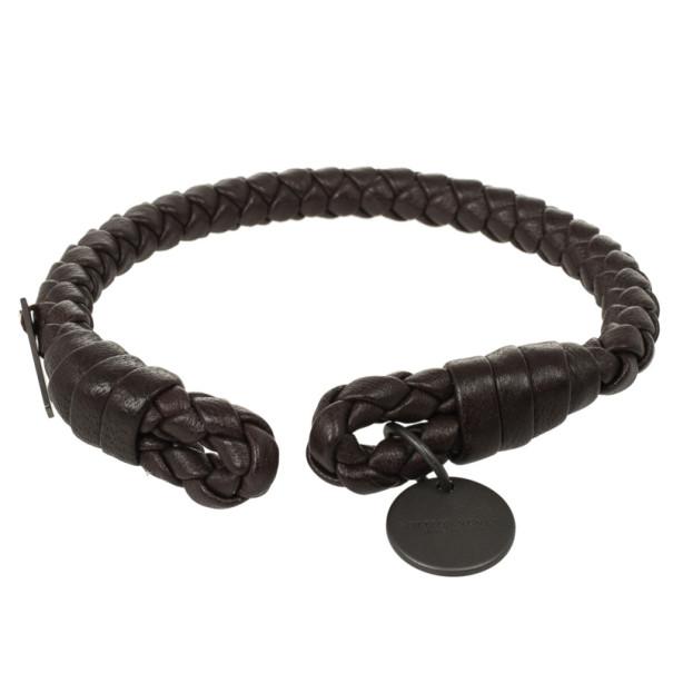 Bottega Veneta Brown Woven Intrecciato Leather Bracelet