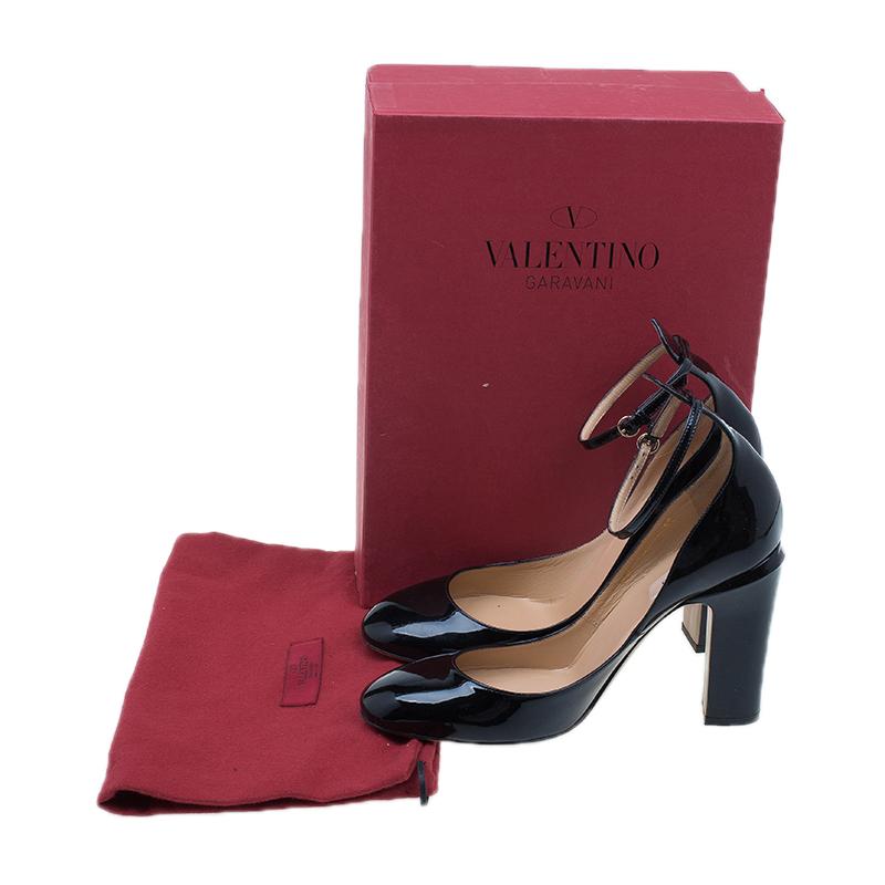 Valentino Black Patent Ankle Strap Pumps Size 40