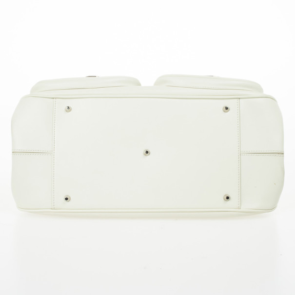 Christian Dior White Leather Medium Dior Detective Bag