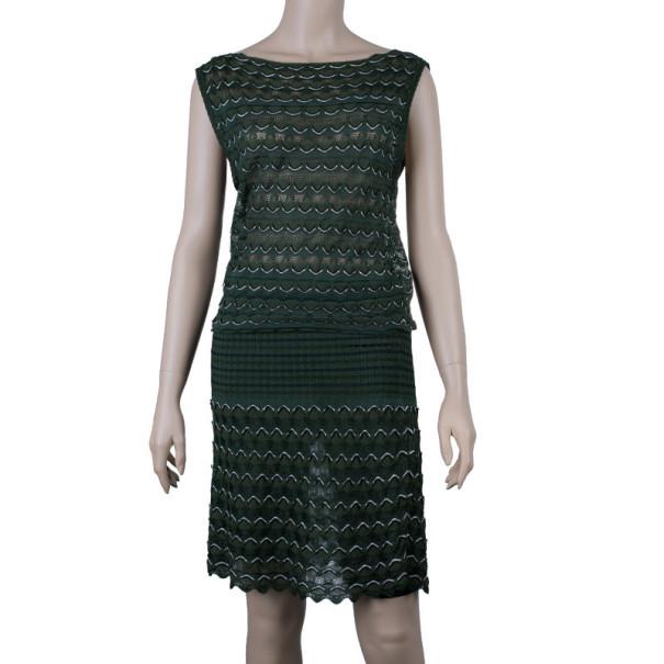 M Missoni Green Knit Drop-Waist Dress M