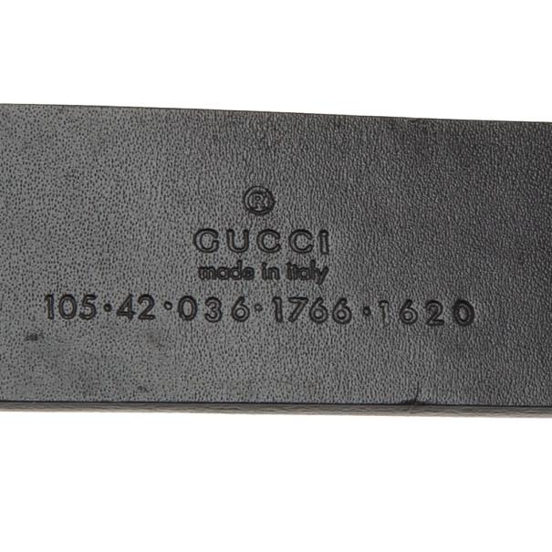 Gucci Black Leather Logo Plaque Belt 105CM
