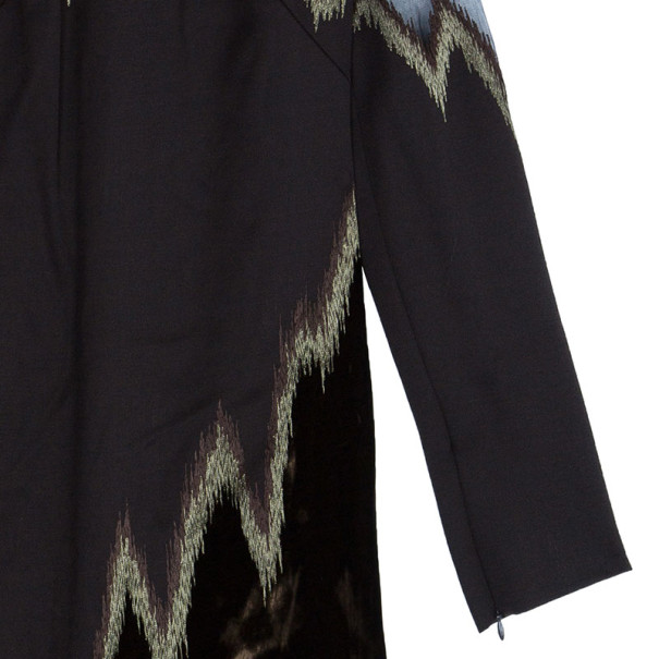 Emilio Pucci Brown Velvet and Suede Embroidered Dress M
