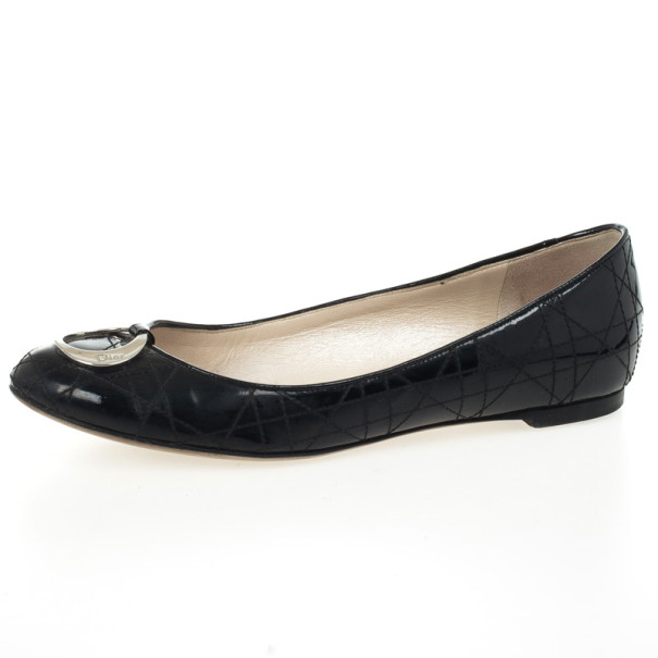 Christian Dior Black Patent Cannage Ballet Flats Size 38