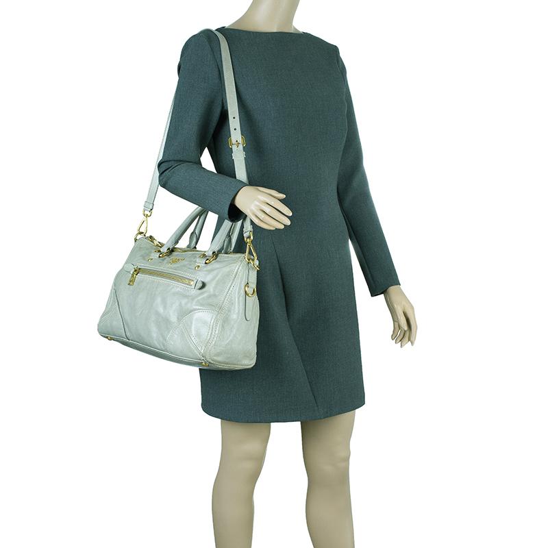 Prada Olive Green Leather New Vitello Satchel Shoulder Bag