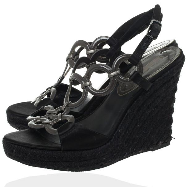 Celine Black Espadrilles Wedges Sandals Size 38