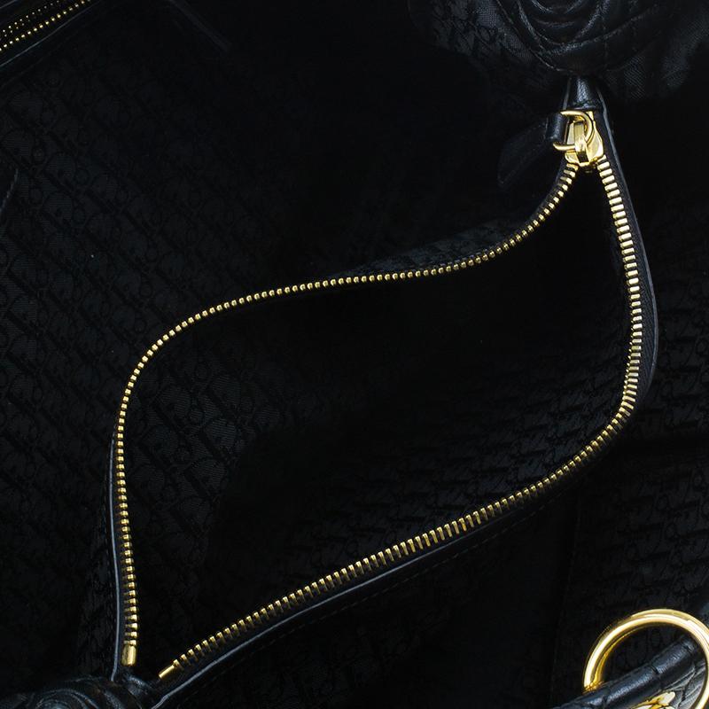 Dior Black Cannage Lambskin Leather Soft Lady Dior Shopping