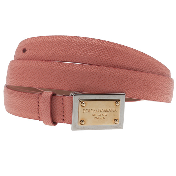 Dolce and Gabbana Pink Leather Plaque Skinny Belt 95CM
