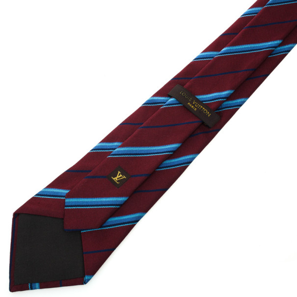 Louis Vuitton Burgundy Striped Tie