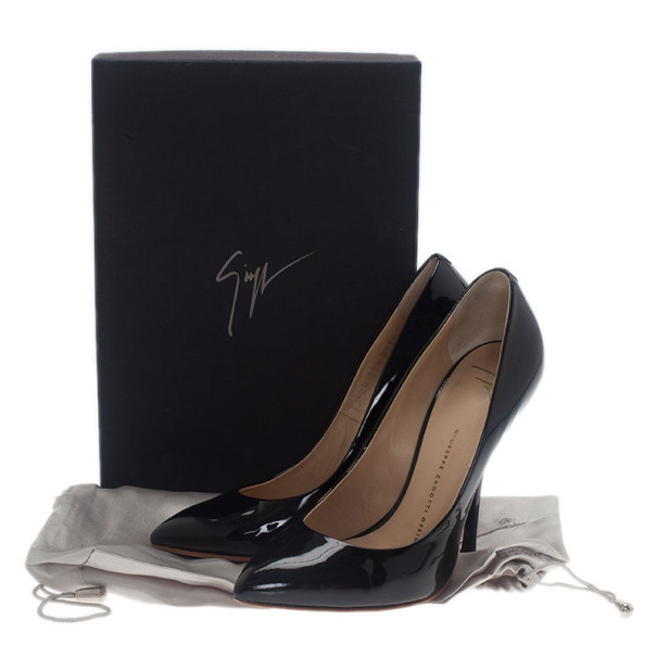 Giuseppe Zanotti Black Patent Pointed Toe Pumps Size 37.5