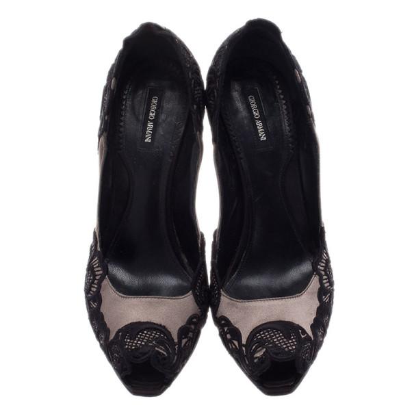 Giorgio Armani Satin and Lace Peep Toe Pumps Size 37.5