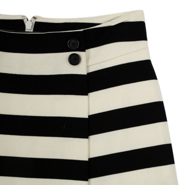 Christian Dior Black & White Striped Skirt S
