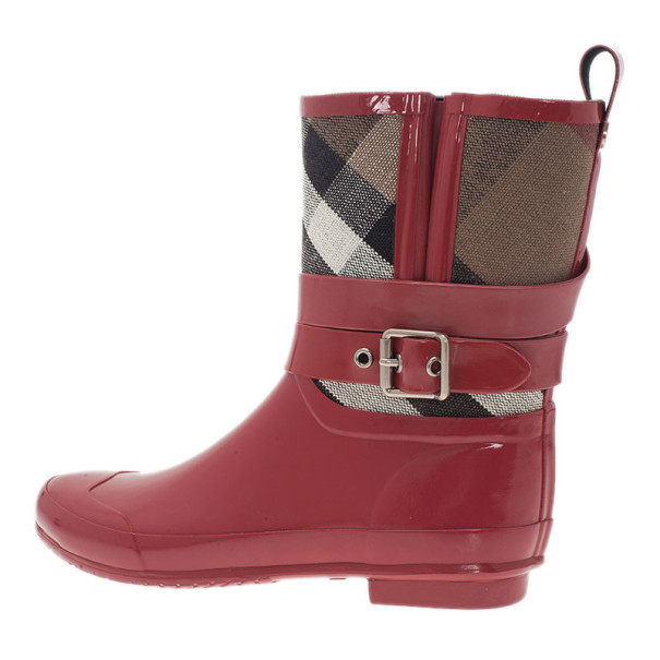 Burberry Red Check Detail Belted Rain Boots Size 40