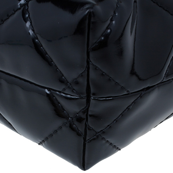 Chanel Black Patent Leather Quilted Flap Bag