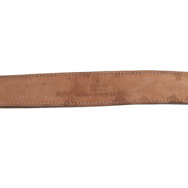 Gucci Guccissima Canvas Bow Buckle Belt 85CM