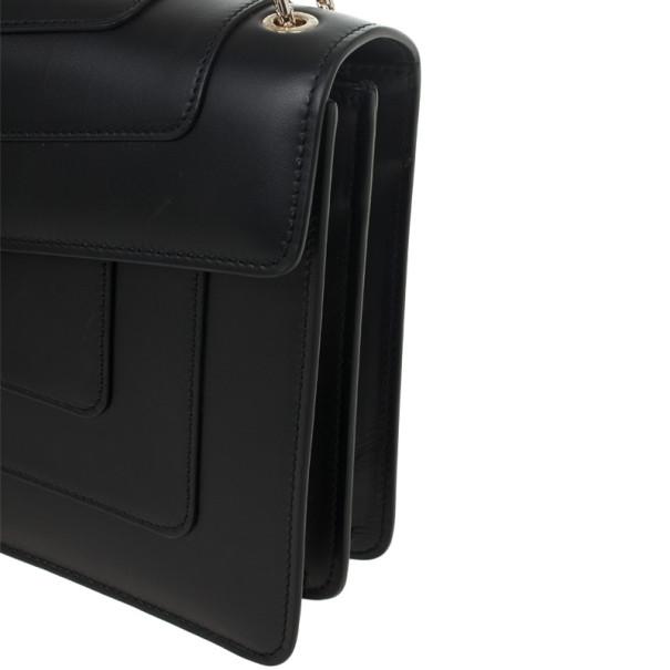 Bvlgari Black Leather Serpenti Shoulder Bag