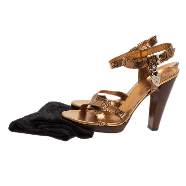 Gucci Bronze Guccissima Leather Ankle Strap Sandals Size 38.5