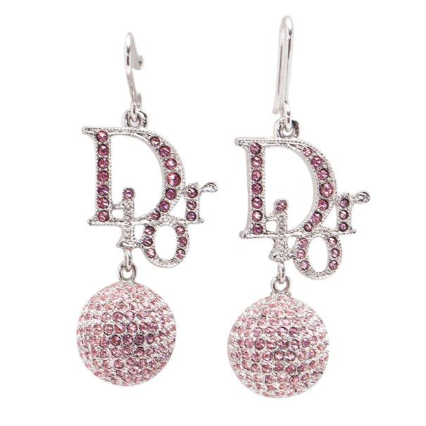 Dior Signature Sphere Pink Crystal Earrings