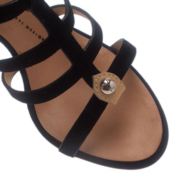 Giuseppe Zanotti Black Suede Strappy Gladiator Sandals Size 38.5