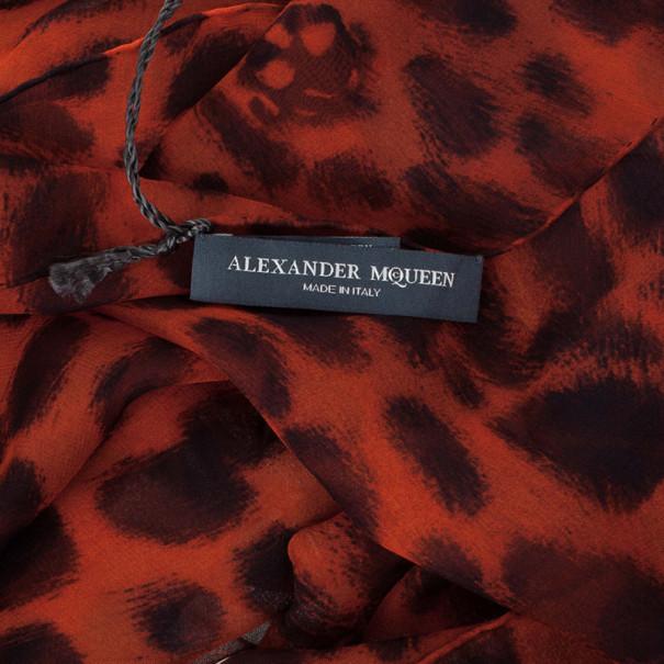 Alexander McQueen Red Leopard Skull Print Square Scarf