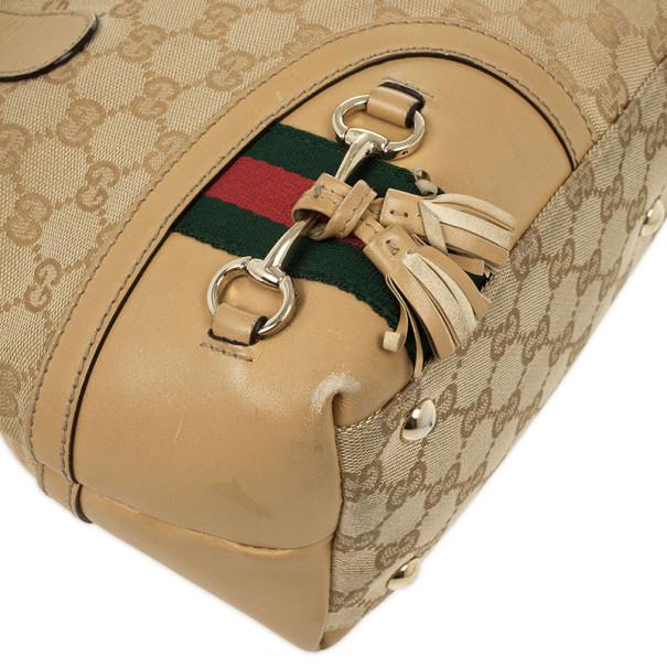 Gucci Beige GG Canvas Horsebit Tassel Tote