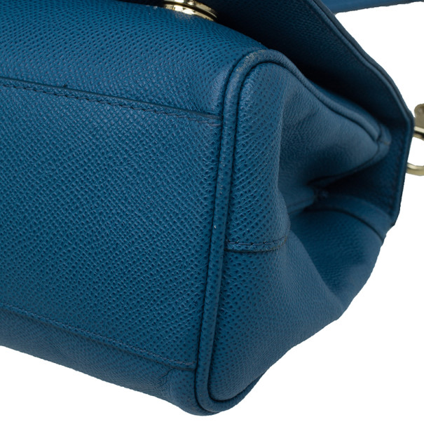 Dolce and Gabbana Blue Leather Chain Detail Box Tote