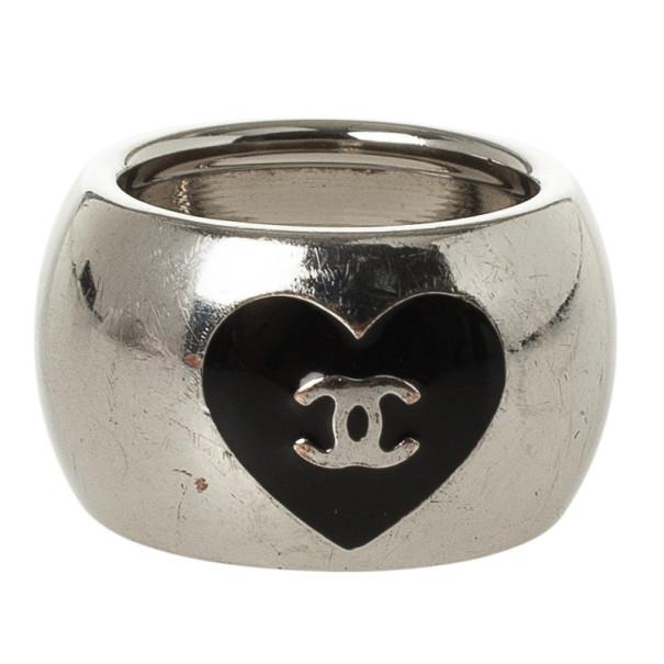 Chanel CC Black Heart Silver Tone Ring Size 52.5