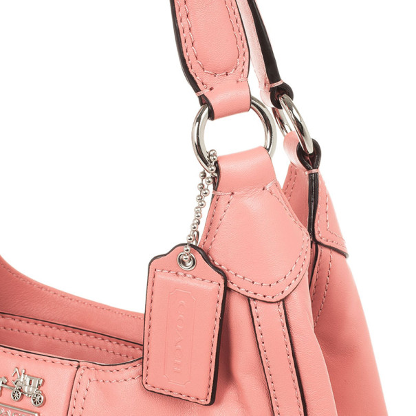 Coach Salmon Pink Madison Maggie Woven Leather Shoulder Bag