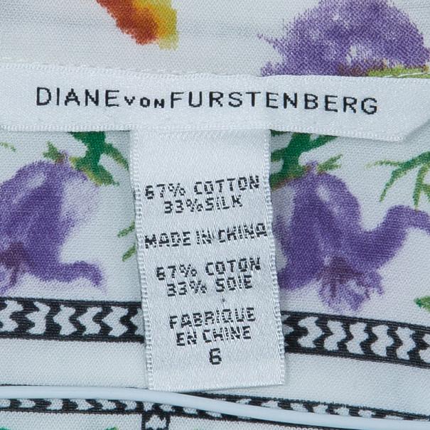 Diane Von Furstenberg Syrah Floral Cotton Top M