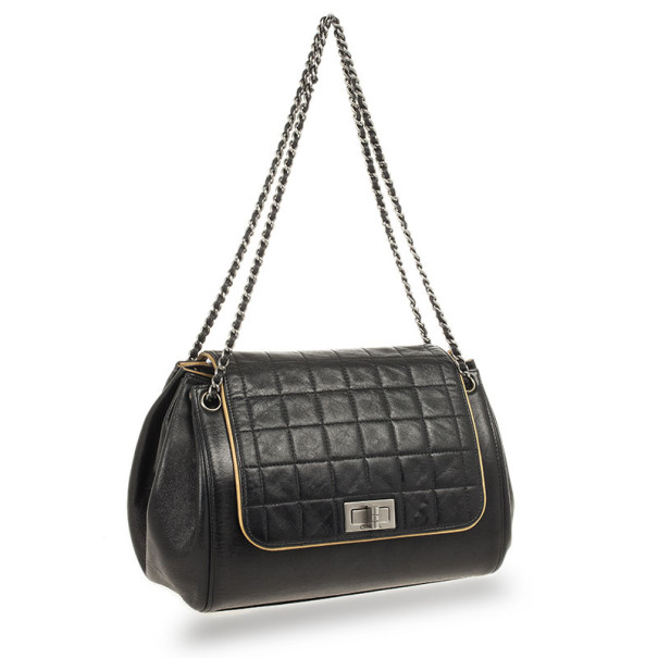 Chanel Black Square Quilted Lambskin Leather Mademoiselle Accordion Flap Bag