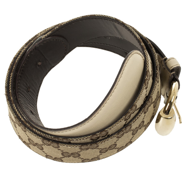 Gucci Beige Guccissima Canvas Belt with Horsebit Buckle 97.5 CM