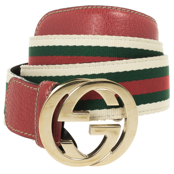 Gucci Web Detail GG Buckle Canvas Belt 85 CM