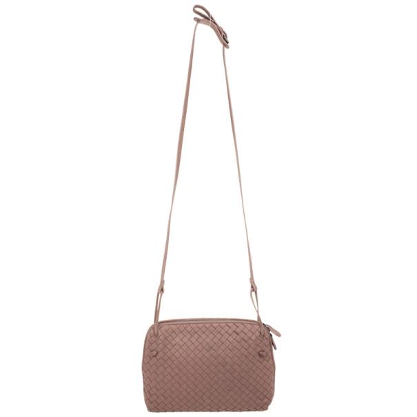 Bottega Veneta Small Pink Intrecciato Square Messenger Bag