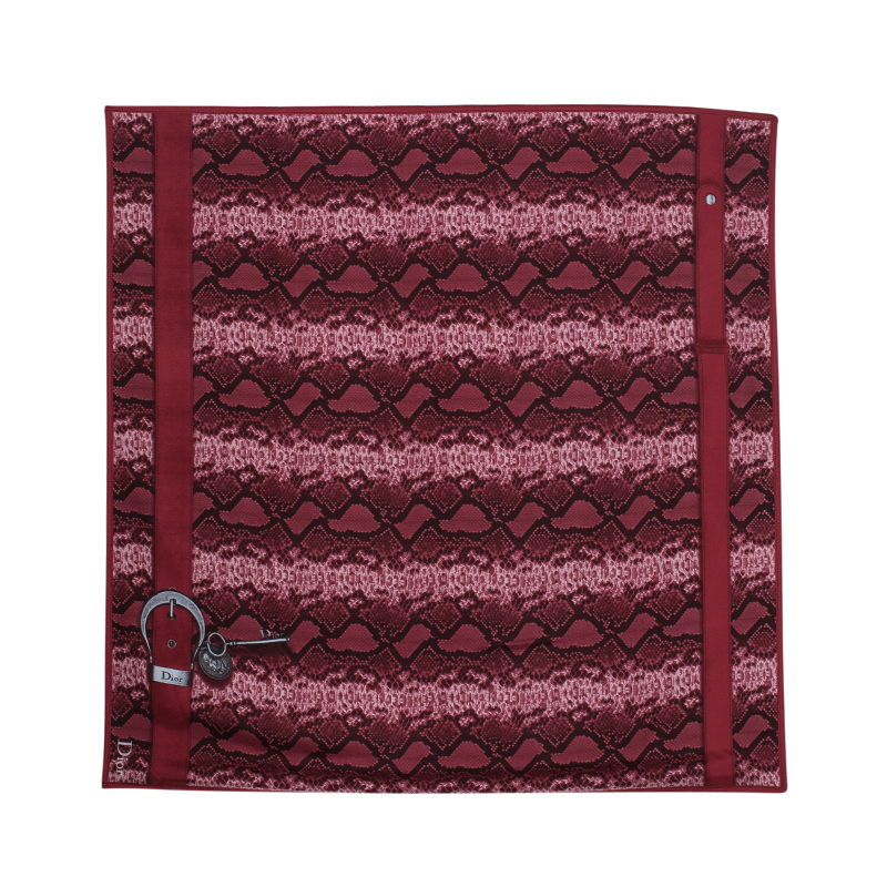 Dior Pink and Red Printed Silk Square Scarf