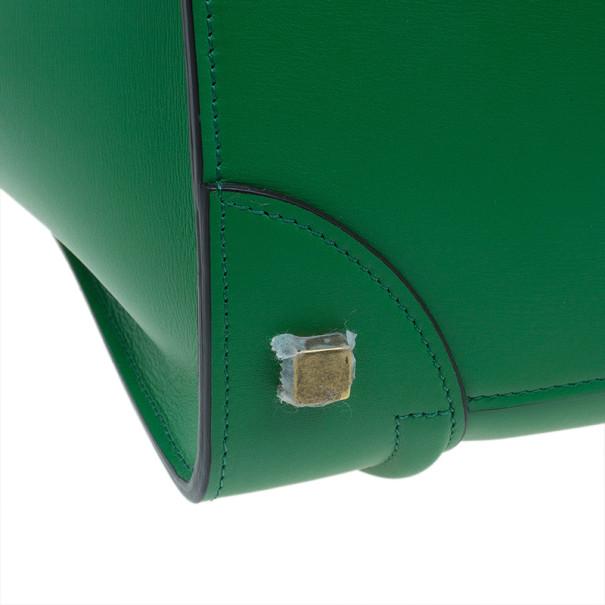 Celine Green Smooth Calfskin Mini Luggage Tote