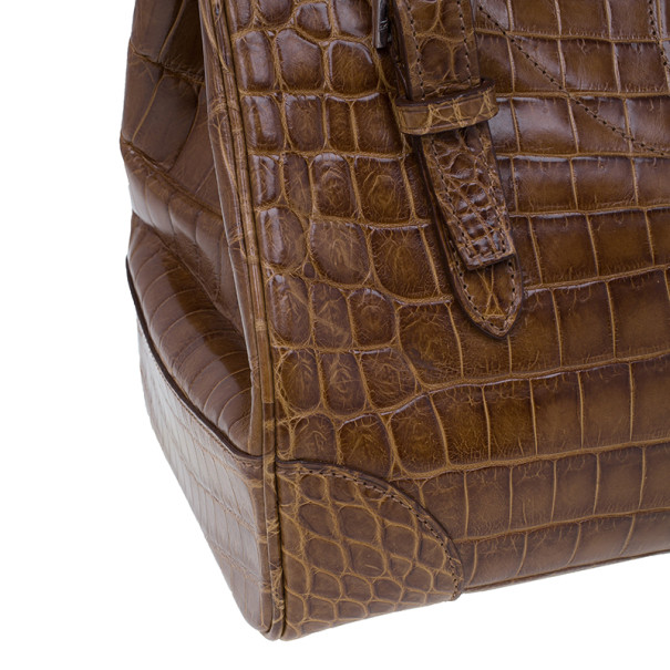 Ralph Lauren Brown Alligator Ricky Bag