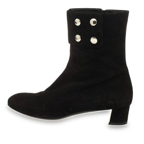 Gucci Black Suede Studded Ankle Boots Size 38