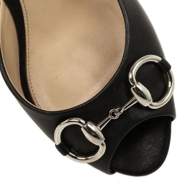 Gucci Black Leather Horsebit Slides Size 37.5