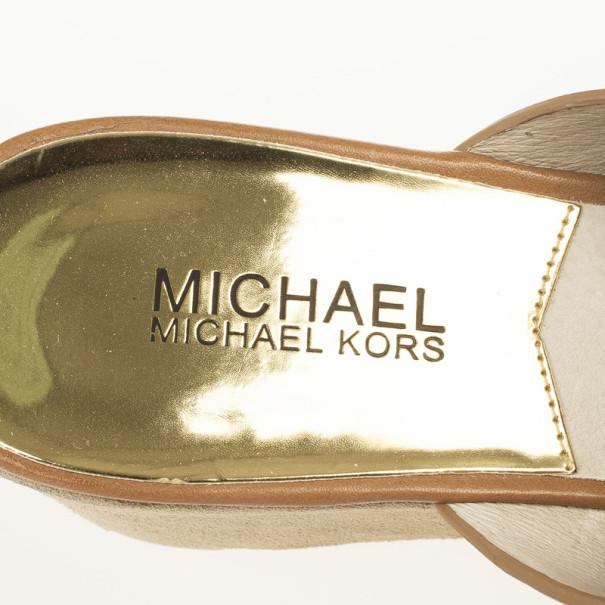 MICHAEL Michael Kors Brown Leather Slides Size 38