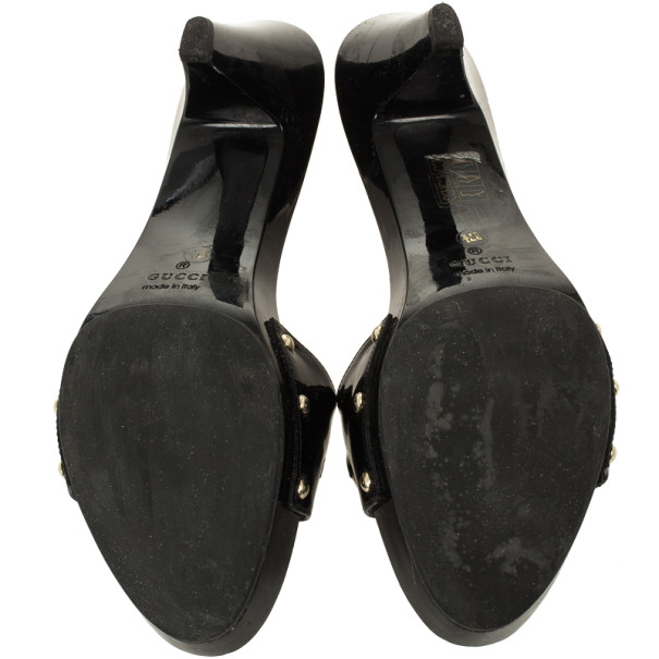 Gucci Black Patent 'Icon Bit' Clog Slides Size 37.5