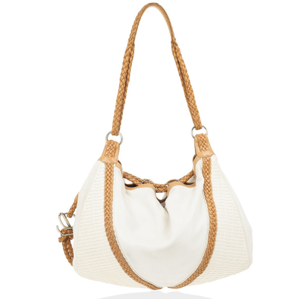 Loewe White and Brown Leather Hobo