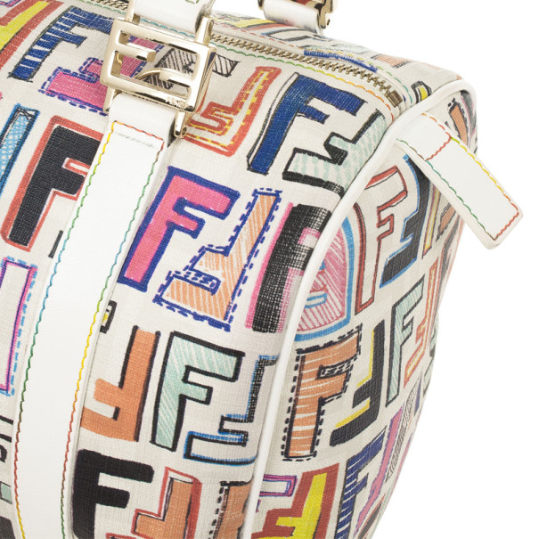 Fendi White Multi Color Zucca Forever Boston Bag