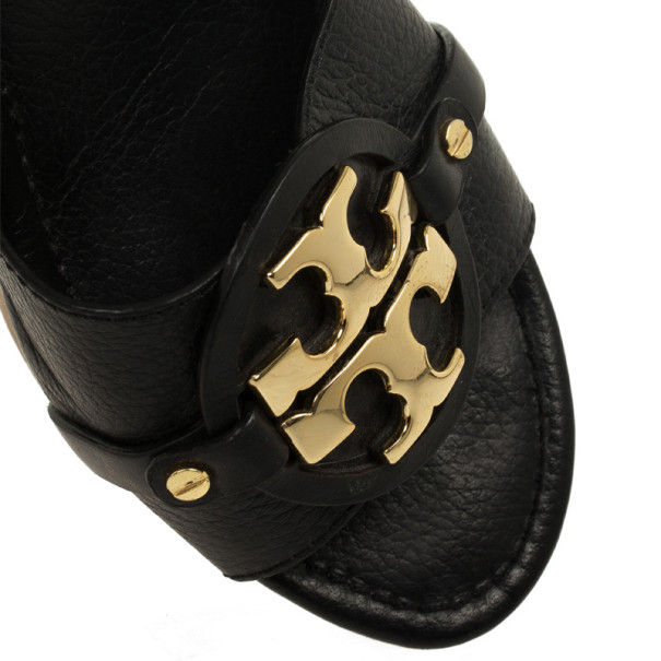 """Tory Burch Black Leather """"Patti 3"""" Mid Wedge Slide Size 40.5"""