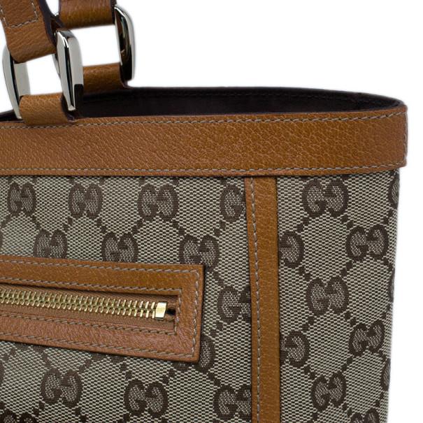 Gucci Brown GG Canvas Leather Trim Tote