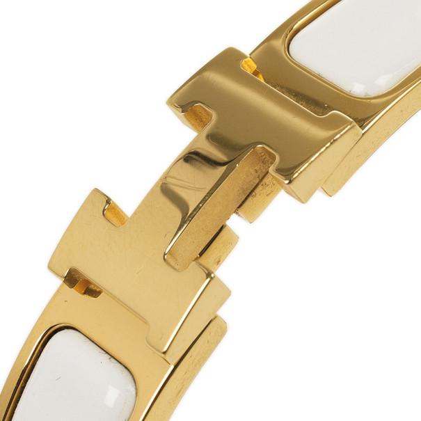 Hermès Clic H White Gold Plated Bracelet