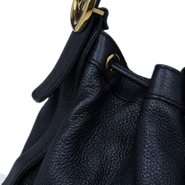 Gucci Black Drawstring Hobo