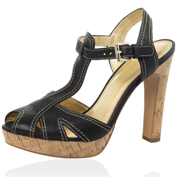 Coach Black Leather Bianca Platform Sandals Size 39.5