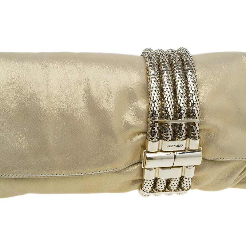 Jimmy Choo Metallic Gold Brushed Chandra Clutch