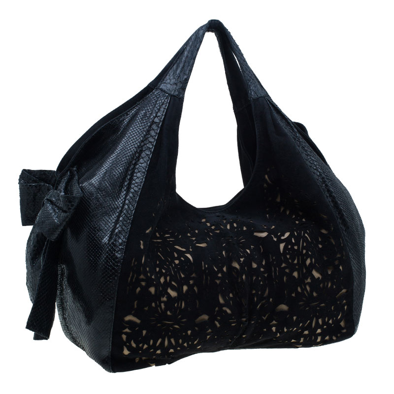 Valentino Black Suede and Python Nuage Bow Tote