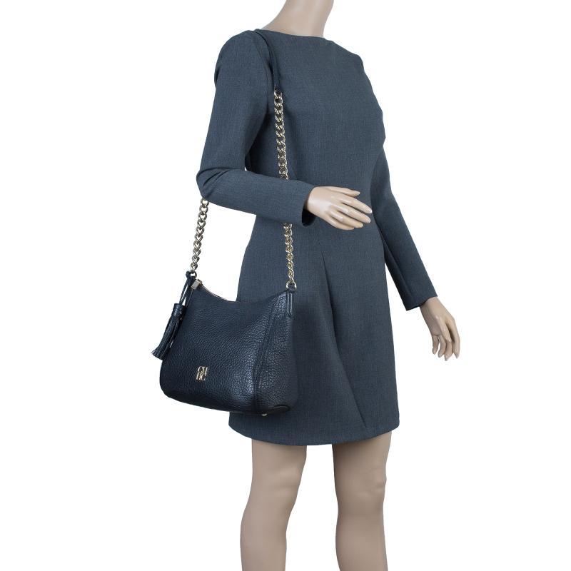 Carolina Herrera Black Pebbled Leather Maria Shoulder Bag