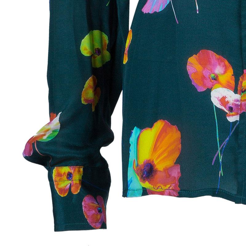 Marc Jacobs Green Flower Print Silk Top L